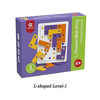 גלגל גלגלים L בצורת לוח התאמה משחק פאזל צבע שבב עץ אינטליגנציה קוגניטיבית| אסטרטגיה משחקים