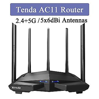 Tenda AC11 2.4 +5GHz 1200Mbps trådlös router 5x6dBi High Gain Antenner Bredare täckning Gigabit