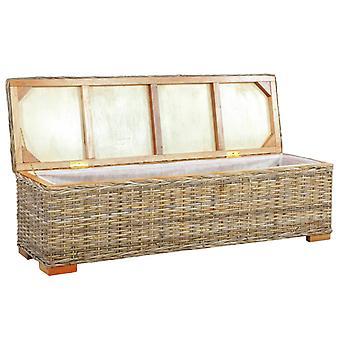 vidaXL caja de almacenamiento 120 cm Kubu ratán y mango de madera maciza