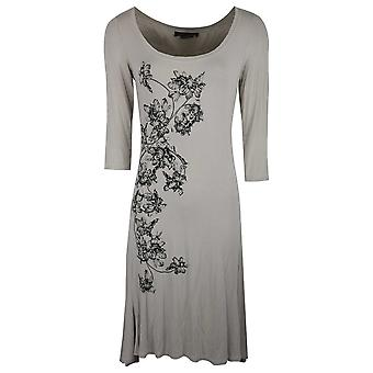 Isabel De Pedro Grey Long Sleeve Jersey Dress With Delicate Creeping Floral Print