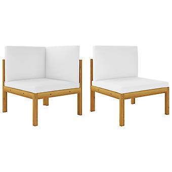vidaXL 2 pcs. Garden lounge set with pads acacia solid wood