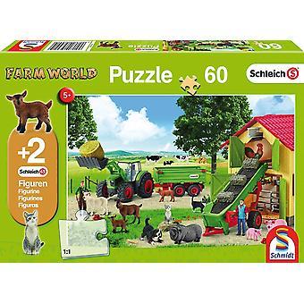 Schleich: Vendemmia di fieno nella fattoria Puzzle da 60 pezzi + Due figure