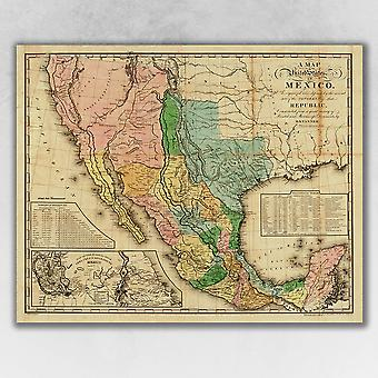 """16"""" x 20"""" Vintage 1846 Map of Mexico Wall Art"""
