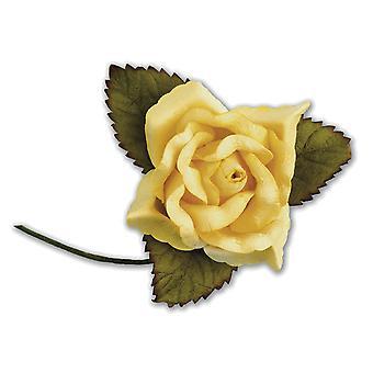 SISTE FÅ - 12 gule 45mm papir roseblomster
