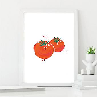 Amazing Tomato Wall Art Illustration   Kitchen Decor Print   A4 with White Frame