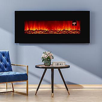 Foyer électrique à feu mural noir de 50 pouces