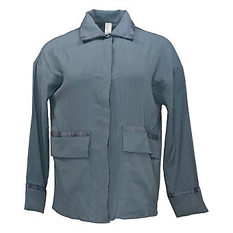 MarlaWynne Women's Crinkle Jacquard Shirt Jacket Gray 694243