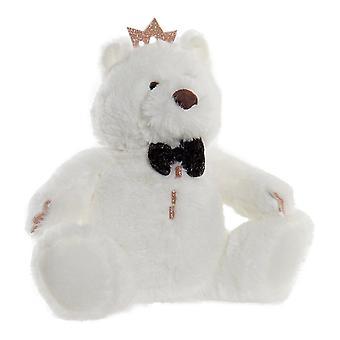 Pörröinen lelu DKD Home Sisustus Valkoinen Polyesterikarhu (22 x 15 x 23 cm)