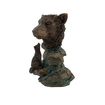 Bronzed Wolf Bust Statue 7 In.