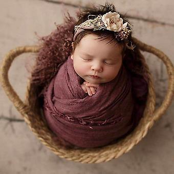 nyfødt kurv fotografering rekvisitter håndvevd baby seng