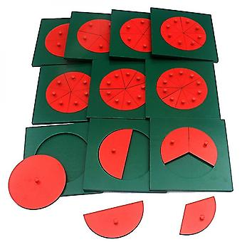Caraele Baby Montessori Math Toys Wooden Fraction Circles 1-10 Counting Fractions Educational Wood Toys Circular Division Grasping Board