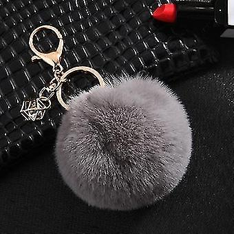 Flauschige und weiche Kaninchen-Pompon-Trinket-Schlüsselanhänger im nordischen Stil (Grau)