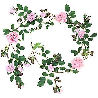 Rose Garland Franela Artificial Rose Decoración Romántica Banquete de Boda Salón Ventana Decoración Rosa Rosa