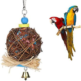 Bird Parrot Toy, Bird Chew Toy, Natural Rattan Ball With Paper Strips And Metal Bell, Bird Parrot Toys Swing For Birds, Parakeets, Perched Parrot