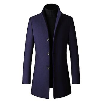 Yunyun Men's Plain Thick Stand-up Collar Single-breasted Mid-length Overcoat