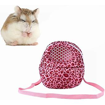 Three Size Small Pets Carrier Bag Hedgehog Hamster Mouse Outgoing Bags Leopard Portable Travel Backpack, Pink-m