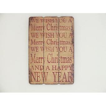 45x25cm Wooden Distressed Wiching Merry Christmas and Happy New Year Signboard Decoration
