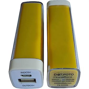 Dot.Foto 2200mAh Portable Power Bank batteria di Backup caricabatterie (giallo)