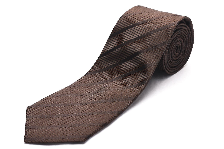 Luciano Barbera Men Slim Silk Neck Tie Brown Tonal Stripe