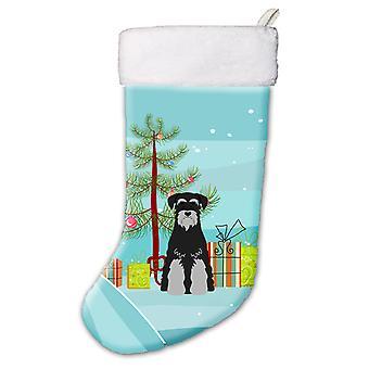 Merry Christmas Tree Standard Schnauzer Black Grey Christmas Stocking