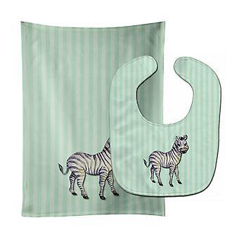 Carolines Treasures  BB7143STBU Zebra Baby Bib & Burp Cloth