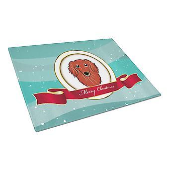 Rote Langhaar Dackel Frohe Weihnachten Glas Schneidebrett groß