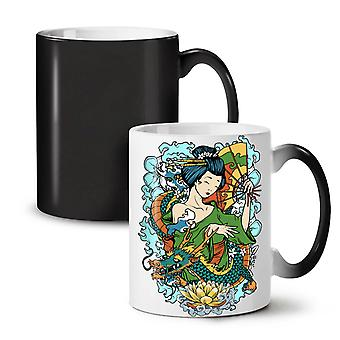 Cute Japanese NEW Black Colour Changing Tea Coffee Ceramic Mug 11 oz | Wellcoda