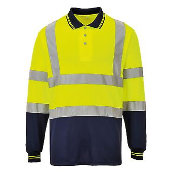 Portwest Mens Hi-Vis Two-Tone Long Sleeve Polo Shirt