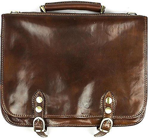 Genuine Italian Leather Flapover Briefcase Laptop Satchel Bag Brown Unisex