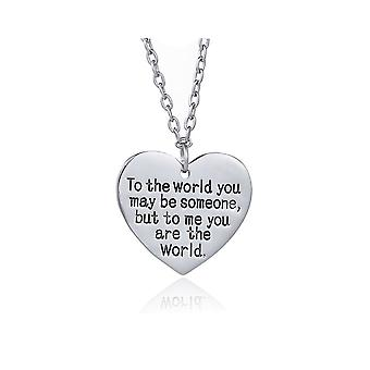 Womens Necklace Love Heart Pendant You Are The World