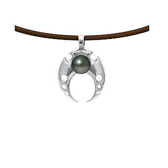 Men's Tribal Pendant necklace in brown leather, Tahitian Pearl and Massive Silver 925 5491