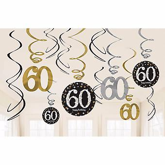 Amscan Gold Celebration 60th Birthday Swirl Decorations (Pack of 12)