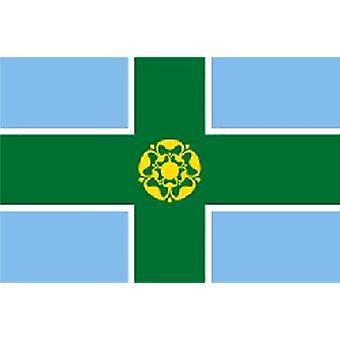 Derbyshire vlag 5 ft x 3 ft met oogjes voor verkeerd-om