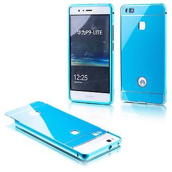 Saco de alumínio amortecedor 2 peças com azul tampa para Huawei P9 Lite manga caso