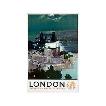 Torre de Londres y puente (antiguo ferrocarril Ad.) Imán de nevera