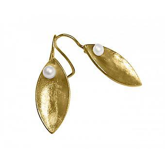 أقراط السيدات-حلق--925 الفضة-أبيض-3 سم الذهب مطلي بيرل--ماركيز---
