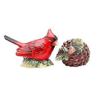 Red Cardinal and Pine Cone Salt and Pepper Shakers Set