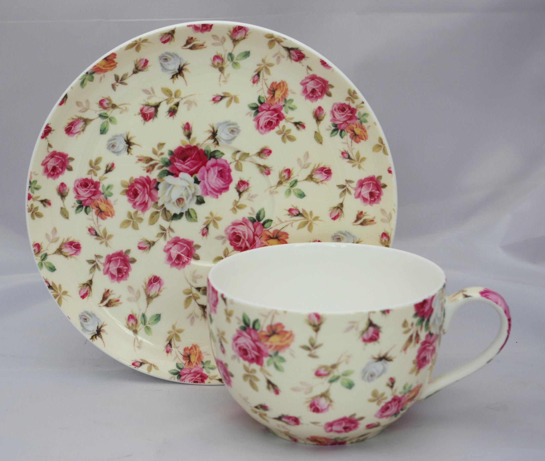English Bone China Large Cup & Saucer Yellow Roses