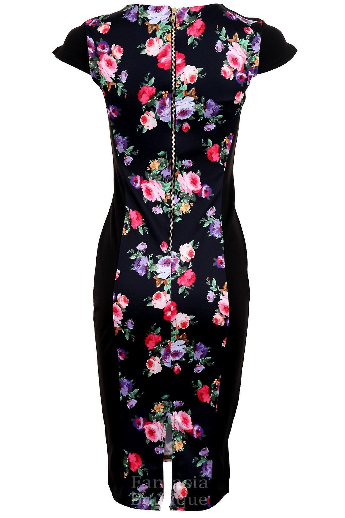 Ladies Cap Sleeve Cut Out Neck Midi Floral Diamond Print Women's Bodycon Dress