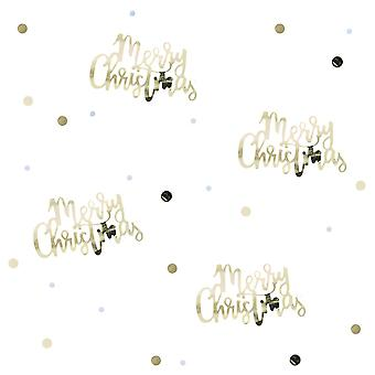 Gold Script Merry Christmas Table Confetti - 14g - Gold Christmas Table Deocoration Xmas