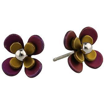 Ti2 Titanium Doppel vier Blütenblatt Bead Blume Ohrstecker - braun