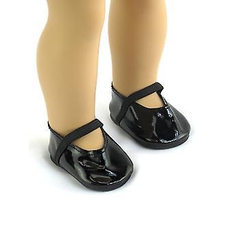 """18 """"κούκλα ρούχα λαμπερά μαύρα παπούτσια"""