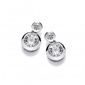 Cavendish French Double Up Silver & Cubic Zirconia Earrings