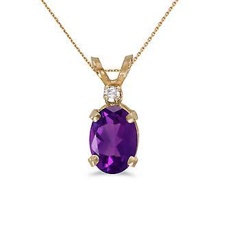 LXR 14k oro amarillo amatista ovalado y colgante de diamantes 0.45ct