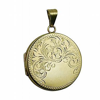 9ct Gold 29mm flat round half hand engraved Locket