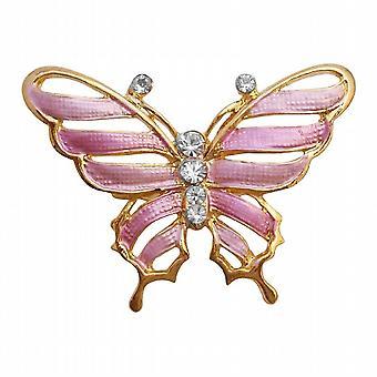 Jahrgang schlanke & zierlichen Rosa Gold Emaille Schmetterling Brosche Pin