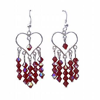 AB Siam Swarovski krystal hjerte sølv hjerte lysekrone øreringe