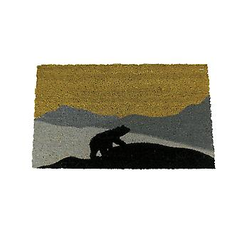 Indoor/Outdoor Natural Coir Black Bear Door Mat