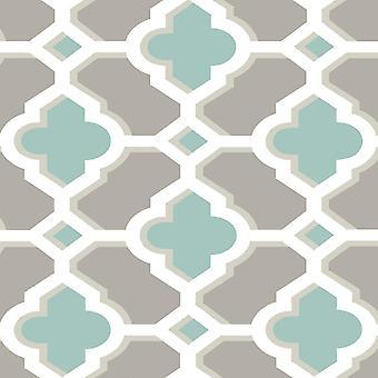A rua impressões colar o parede Wallpaper Quatrefoil geométrico retrô bem uma decoração verde/branco/cinza