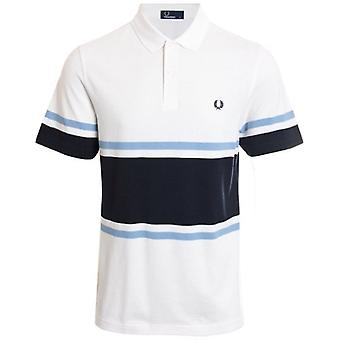 Fred Perry M5578 Bold Fine Stripe Polo Blanche-Neige